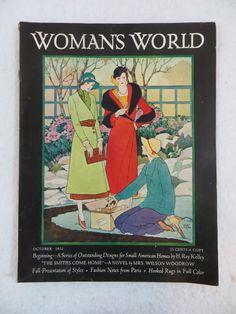 Vintage WOMAN'S WORLD Magazine  October 1931 MRS. WILSON WOODROW