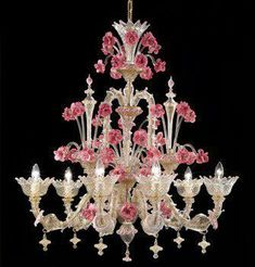 Murano is an island in the Venetian Lagoon. Murano pink glass flowers and crystal chandelier Murano Chandelier, Chandelier Lighting, Crystal Chandeliers, Venetian Glass, Murano Glass, Lampe Applique, Glass Flowers, Lamp Light, Decoration