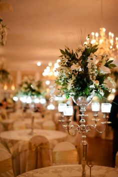 beautiful elegant wedding centerpiece design. From a classic, intimate Fredericksburg Virginia wedding. Images by Ampersand Photography.