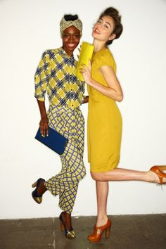 love both pairs of shoes, the clutches, and the color palettes. Karen Walker SS12