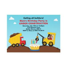 Possible bday invite idea.  Dumptruck Birthday Party Invitation  Construction Birthday Party invitation. This invitation features a dump truck in the mud, a construction vehicle building a birthday cake and can be personalized with a photo of your child. Some elements © BabyStarDesign