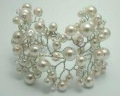 Bridal Cuff - Bridal Pearl and Crystal Vine Cuff Bracelet