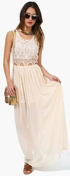 lovely crochet detail on this ivory maxi dress