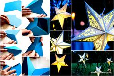 Mindblowingly Beautiful Star-Shaped DIY Paper Lanterns That Will Beautify Your Special Moments [Printables Included] homesthetics Easy Diy Crafts, Diy Crafts To Sell, Creative Crafts, Cool Diy, Diy Dog Fence, Paper Star Lanterns, Star Diy, Diy Wedding Bouquet, Light Crafts