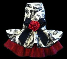 Butterfly Rose Dog Dress butterflies couture summer small custom clothes handmade designer birthday black red maltese yorkie chihuahua pug