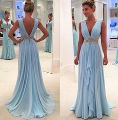 New arrival Light Blue Chiffon Prom Dresses Deep V Neck Off the Shoulder Evening Gowns,High Low Long Prom Dress With Beaded Waist  by Ai prom dresses, $127.02 USD Modest Prom Gowns, Backless Evening Gowns, V Neck Prom Dresses, Evening Party Gowns, Prom Dresses 2017, Chiffon Evening Dresses, Beaded Prom Dress, Cheap Prom Dresses, Formal Dresses