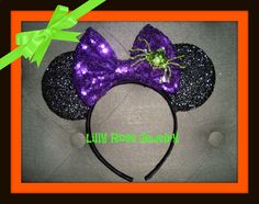 Hey, I found this really awesome Etsy listing at https://www.etsy.com/listing/450866372/halloween-sparkly-minnie-mouse-ears