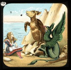 c. 1910 to 1925. Alice in Wonderland, from a set of 24 slides meant for viewing on a Laterna Magica. Based on Sir John Tenniel's original illustrations but altered to avoid copyright conflicts.