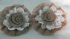 Shabby Burlap Lace Flower Wedding Decoration by wreathsplusbylyn, $12.00