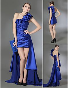 Sheath+/+Column+One+Shoulder+Court+Train+Chiffon+Stretch+Satin+Prom+Formal+Evening+Dress+with+Draping+Side+Draping+Ruffles+by+TS+Couture®+–+USD+$+370.00