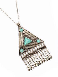 Sahara Boho Necklace Set $15 Silver, Turquoise, Bohemian, Pyramid, Triangle, Blue, Style, Vintage, Fashion
