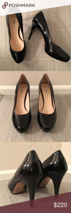 Black Patent Leather Prada pumps Black patent leather pumps. Classic and timeless. Perfect for work or play. Made in Italy. Approx 4in heel and .5in platform for added comfort. OFFERS WELCOME Prada Shoes Heels