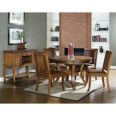 Steve Silver Ashbrook Round Dining Table Set in Oak Finish