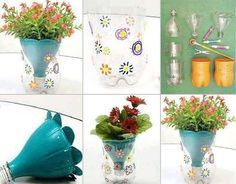 DIY – Flower Pot Made From Plastic Bottles. What we have here is a creative idea for any home. To make flower pot made ​​of plastic bottles you need some stuff. Things needed are plastic bottles, colored markers, scissors / cutter, paint. Plastic Bottle Flowers, Plastic Bottle Crafts, Plastic Recycling, Recycle Plastic Bottles, Plastic Plastic, Diy Flowers, Flower Pots, Fresh Flowers, Spring Flowers