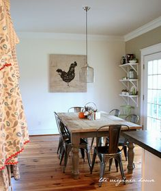 Love The Rustic Farm Table With Modern Industrial Chairs Farmhouse