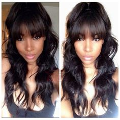 Cheap wig carnival, Buy Quality wigs for african american women directly from China wig head Suppliers: Brazilian Full Lace Wigs With Bangs Body Wave Full Lace Human Hair Wigs For Black Women Brazilian Virgin Hair Lace Front Wigs Wigs With Bangs, Hairstyles With Bangs, Weave Hairstyles, Full Bangs, Sew In With Bangs, Wavy Bangs, Human Hair Lace Wigs, Human Hair Wigs, Curly Hair Styles