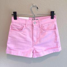 NWT American Apparel Stretch Bull Denim High Waist Cuff Candy Pink Shorts 25  | eBay