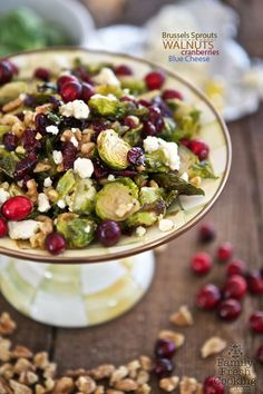 Maple Roasted Brussels Sprouts with Walnuts, Blue Cheese & Cranberries   FamilyFreshCooking.com