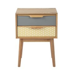Wooden vintage bedside table with drawers W Fjord Retro Furniture, Bed Furniture, Upcycled Furniture, Home Decor Furniture, Furniture Makeover, Painted Furniture, Deco Design Pas Cher, Vintage Interiors, Vintage Stil