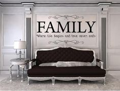 Check out Vinyl Wall Quotes Family Where Life Begins And Love Never Ends Vinyl Wall Decal, Custom Vinyl Lettering Living Room Decal, Family Room Decal on inspirationwallsigns Wall Stickers Quotes Family, Vinyl Wall Quotes, Vinyl Wall Decals, Family Wall Decor, Family Room, Custom Vinyl Lettering, Wall Lettering, Vinyl Decor, Wall Signs