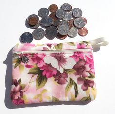 Change Purse Apple Blossom Floral Print Cosmetic by GabbysQuilts