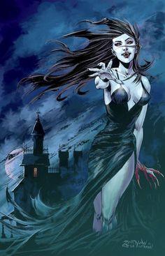 Dark Fantasy Art, Fantasy Kunst, Fantasy Artwork, Dark Art, Vampire Love, Female Vampire, Vampire Girls, Vampire Art, Gothic Vampire