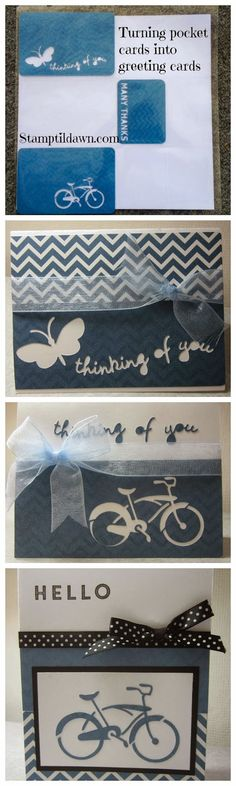 Turning pocket cards into greeting cards.  See more at stamptildawn.com #ctmh #artfullysent #cricut