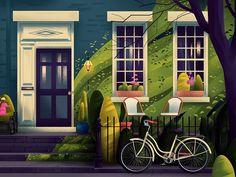 Home Architectural Illustrations by Muhammed Sajid - Inspiration Grid Design Inspiration Art And Illustration, Workspaces Design, Cage Chat, Minimalism Living, Small Restaurant Design, Illustrator, Pinturas Disney, Tree Artwork, Grid Design