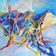 """Daily Painters Abstract Gallery: Colorful Abstract, Expressionism Painting """"The Way"""" by New Orleans Artist Lou Jordan Acrylic Pouring Art, Acrylic Art, Large Paintings For Sale, Color Wheel Projects, Alcohol Ink Painting, Pour Painting, Canadian Art, Abstract Art, Abstract Paintings"""