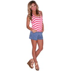 Crop & Flare Tank in Coral | Impressions  You can never go wrong with a little stripe top!