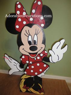 Minnie Mouse  Birthday Decorations  3ft Wood Standees  Adorabledecorations.com   The perfect decoration for birthdays, rooms, front yards, parties, baby showers, graduations, birthdays, preschools, daycare, schools, etc. This is the perfect addition to your party or event! Hang it on a wall, put it on a stake in the garden or put it on a table top. Decorate a children's room, play room etc.