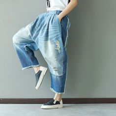 175331358b8d 2017 New Casual Boyfriend Harem jeans women Spliced Ankle-length Drop  Crotch pants Hippie Punk