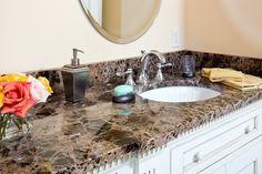 Master bathroom vanity in Emperador Dark marble with Eased edges. Master Bathroom Vanity, Bathroom Vanity Cabinets, Emperador Marble, Painted Vanity, Master Bath Remodel, White Vanity, Marble Countertops, Home Improvement, Sink
