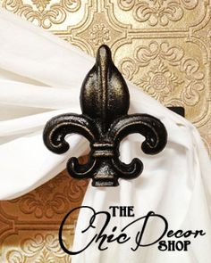 Metal Curtain Tie back, Fleur de lis on Etsy, $11.95