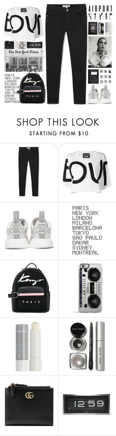 """""""Airport style"""" by doga1 ❤ liked on Polyvore featuring MANGO, Boutique Moschino, adidas Originals, ADZif, GALA, Kenzo, Passport, Zero Gravity, Korres and Bobbi Brown Cosmetics"""