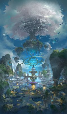 树, 3 LY – Sushi – wallpaper Fantasy Artwork, Fantasy Concept Art, Fantasy Art Landscapes, Landscape Art, Space Fantasy, Fantasy Kunst, Fantasy City, Fantasy Places, Fantasy Island