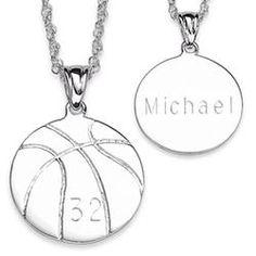 Sterling Silver Engraved Basketball Pendant