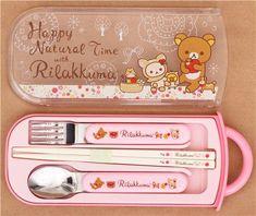 deer Rilakkuma bear apple Bento Cutlery Set 1