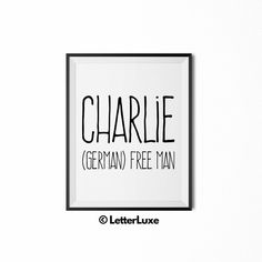 Finley name meaning art printable baby by letterluxeprintables charlie name meaning art printable new baby gift negle Image collections