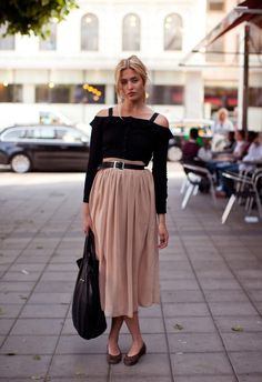 Blush belted maxi skirt with black off the shoulder top
