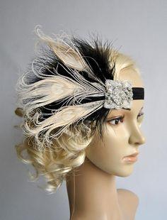 Negro Marfil aleta diadema de plumas tocados de por BlueSkyHorizons
