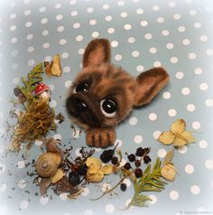 Купить Брошь валяная Карманный Французский Бульдог Бежевый Палевый - собака, мопс, брошь, бежевый