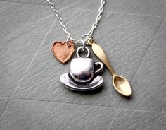 Coffee Love- Tiny teaspoon and coffe cup with copper heart- French inspired vintage everyday jewelry