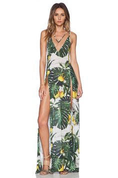 ADRIANA DEGREAS Tropical Maxi Dress in Green | REVOLVE