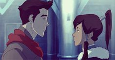 """Korra and Mako's """"It's over, for real,"""" kiss."""