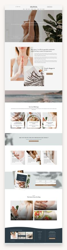 Olivia Pro is a beautiful and modern WordPress Theme perfect for health and wellness coaches such as a podcast or yoga instructor. #Divi #Coaches