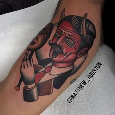 Matthew Houston Ever danced with the devil in the pale moonlight? #devilindisguise #devil #satan #mask #moon #traditional #tattoo @sevendoorstattoo