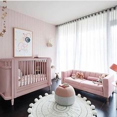 I like the couch and big windows, but too much pink