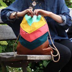 VARO Rucksack nähen, modernen Rucksack für Männer nähen, Shoppingbag Gymbag Turnbeutel nähen, Regenbogen, Einhorn, Sommerfarben