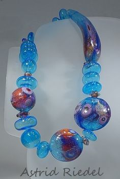 The Blue Danube - Hollow glass bead focal necklace set by Astrid Riedel: